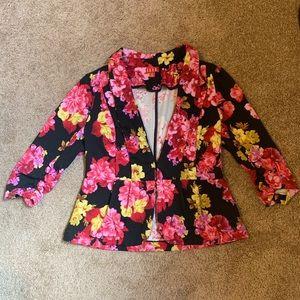 Pink/Yellow Floral Peplum Blazer